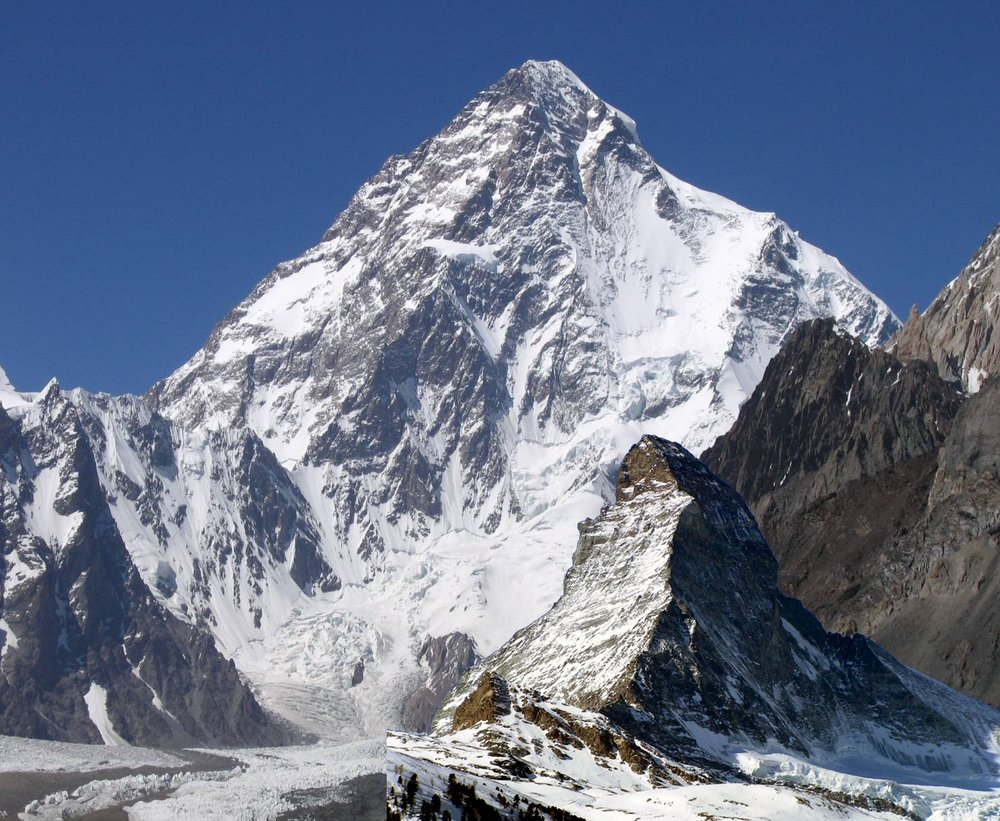 A size comparison of the Matterhorn North face with the huge South Face of K2, 199 kb