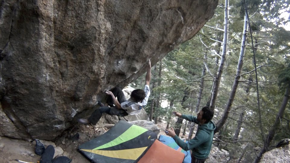 Phillip Schaal on Midnight express, 8B+, Boulder Canyon, CO, 93 kb