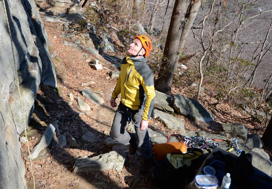 Mick Ryan, UKC Senior Editor, at the Gunks, New York...wearing a helmet!, 130 kb