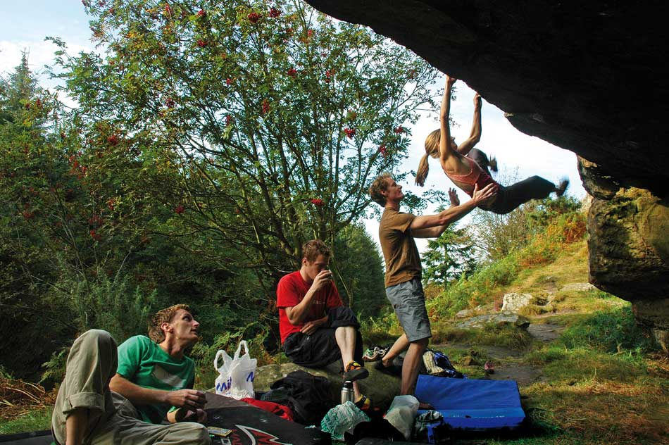 I call this image 'Evolution'. Sarah Daniels on Roof Left-Hand 6C, Kyloe Crag, 128 kb