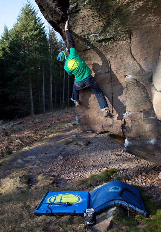 James Pearson bouldering at Back Bowden, Northumberland, 164 kb