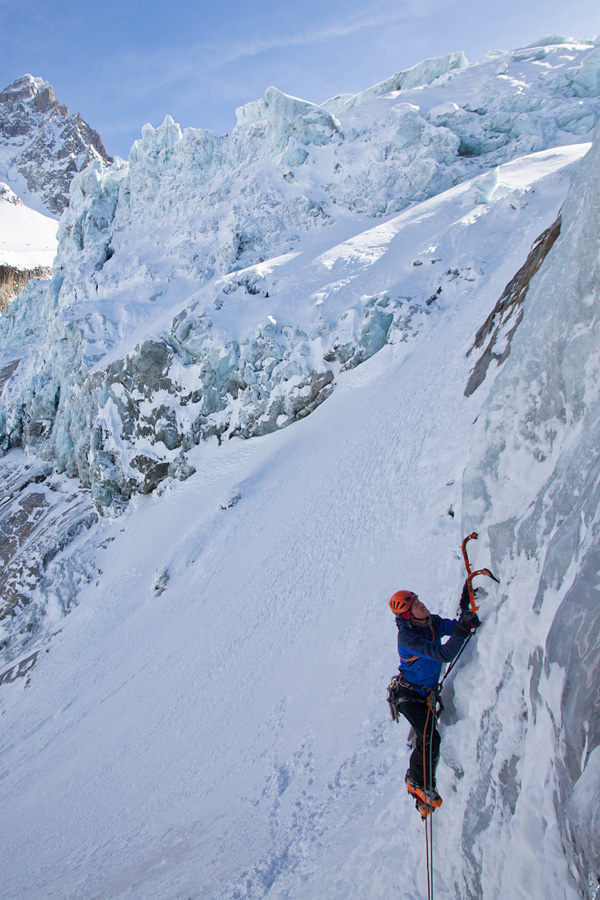 Jack Geldard testing the Grivel Master Alloy axes on water-ice near Chamonix, 216 kb
