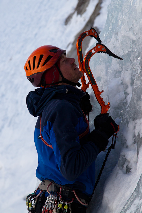 Jack Geldard testing the Grivel Master Alloy axes on water-ice near Chamonix, 164 kb