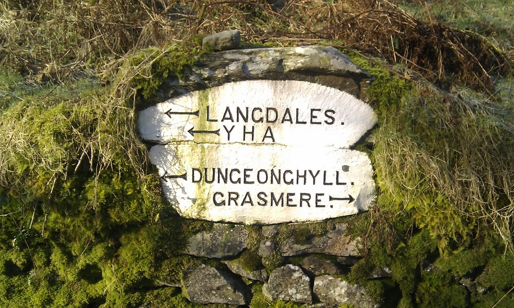 A set of interesting direction signs on the Red Bank road, Grasmere., 209 kb