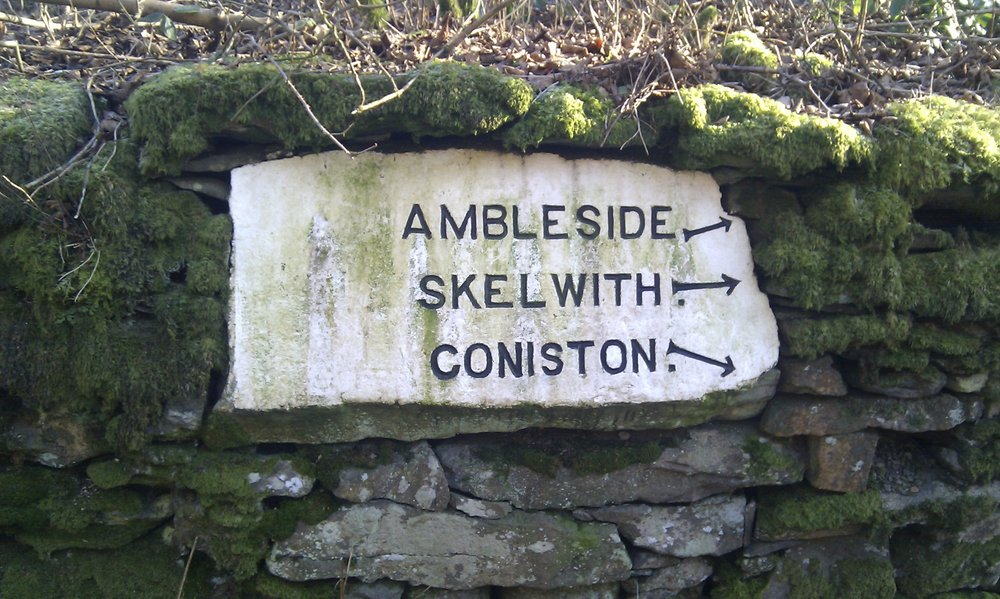 A set of interesting direction signs. Red Bank road, Grasmere., 154 kb