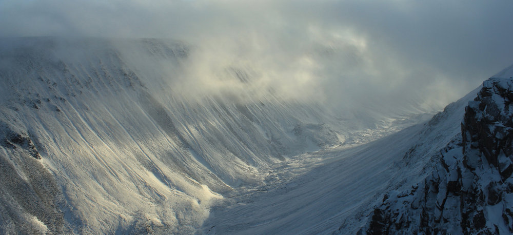 The Lairig Ghru from the shoulder of Sron na Lairige, 91 kb