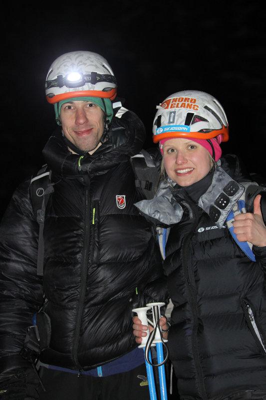 Lucie Hrozová and Mirek Matějec after succesful ascent, 89 kb