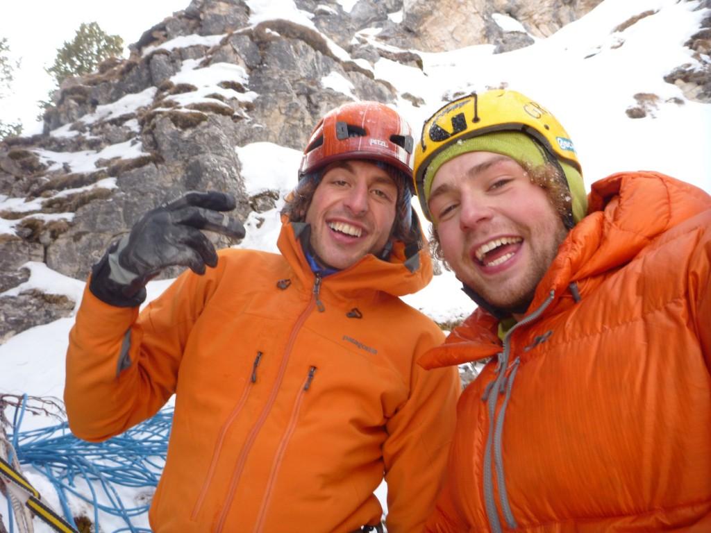 Charly Fritzer and Greg Boswell having climbed Illuminati, 160 kb