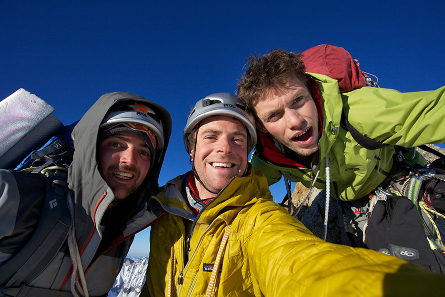 Geoff Unger, Jon Griffith and Will Sim on the summit of the Grandes Jorasses, 158 kb