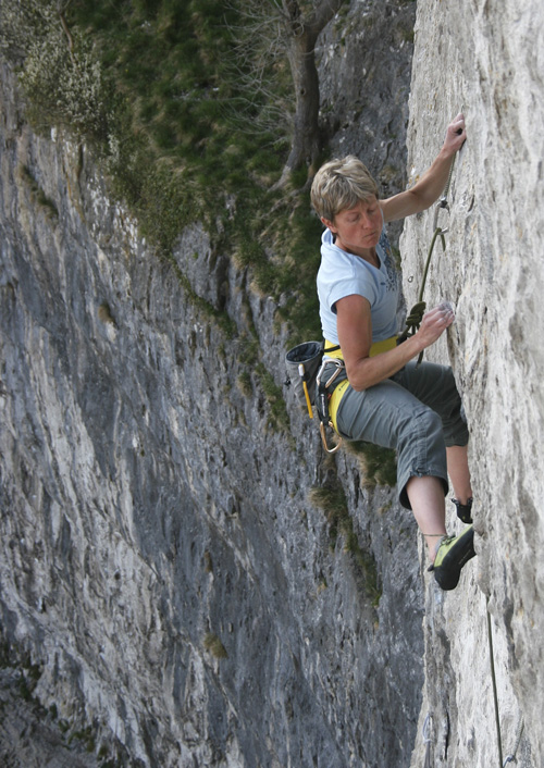 Karin Magog enjoying Climb of the Century (F8b) at Malham, 193 kb