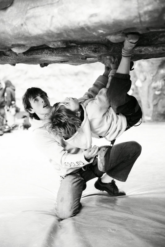 A 'wee kid' in action, here strong Leo puts in the effort on the boulders. , 68 kb