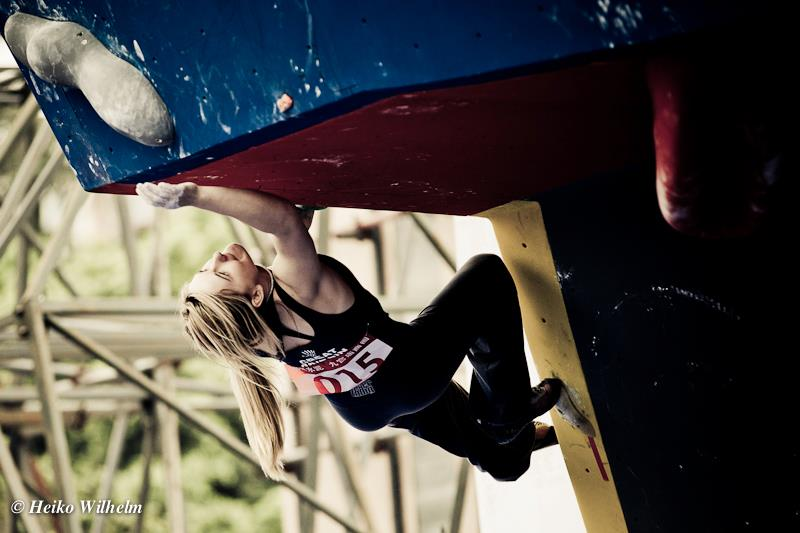 Shauna Coxsey competing in the Chongqing round of the Bouldering World Cup 2012, 48 kb