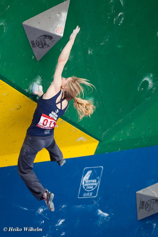 Shauna Coxsey competing in the Chongqing round of the Bouldering World Cup 2012, 58 kb