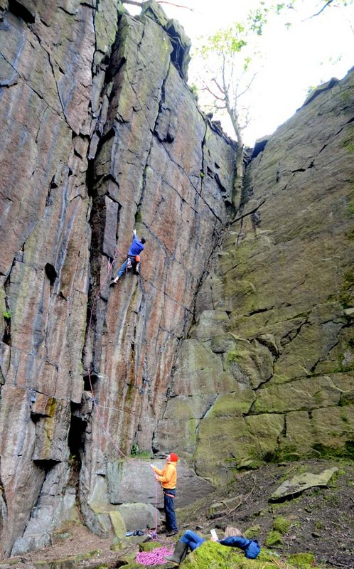 Craig Smith on the first ascent of Set The Controls For The Heart Of The Sun E3 5c/6a, The Roost, Hebden Bridge, 124 kb