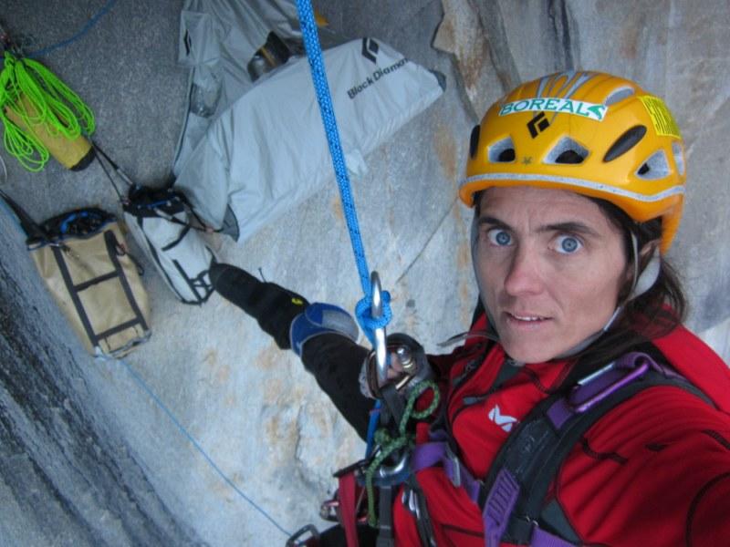 Silvia Vidal on her new route 'Espiadimonis', Patagonia., 98 kb