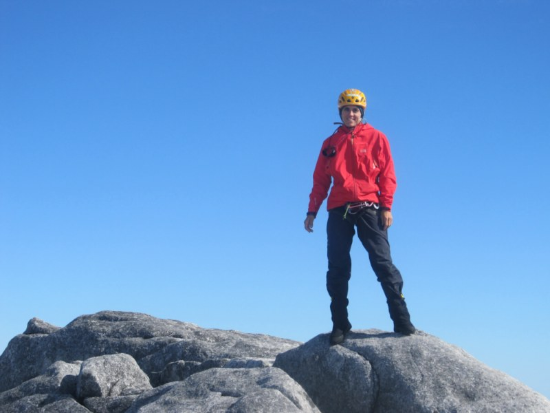 Silvia Vidal on the summit of her new route 'Espiadimonis', Patagonia., 49 kb