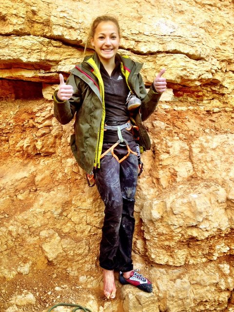 Sasha Digiulian is happy after climbing Era Bella, 9a, 119 kb