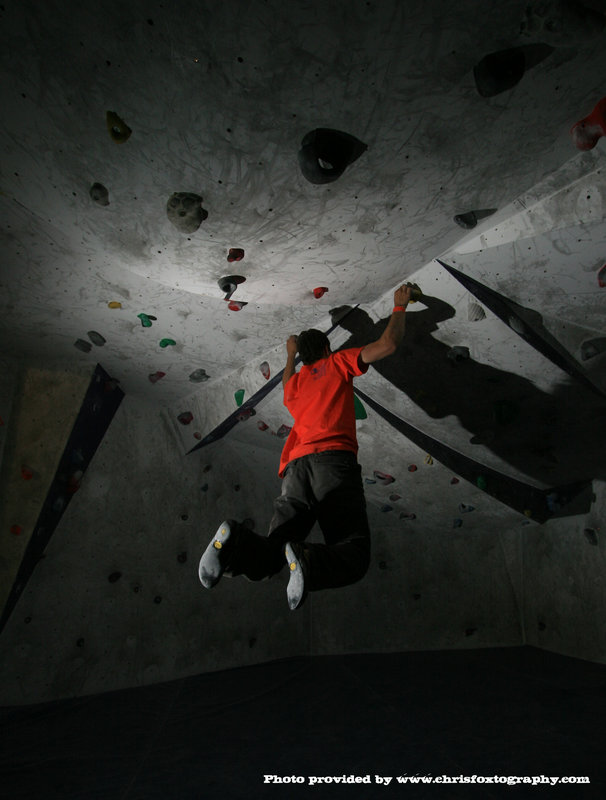 Climber cranking hard at the 2011 ROCFest, 76 kb