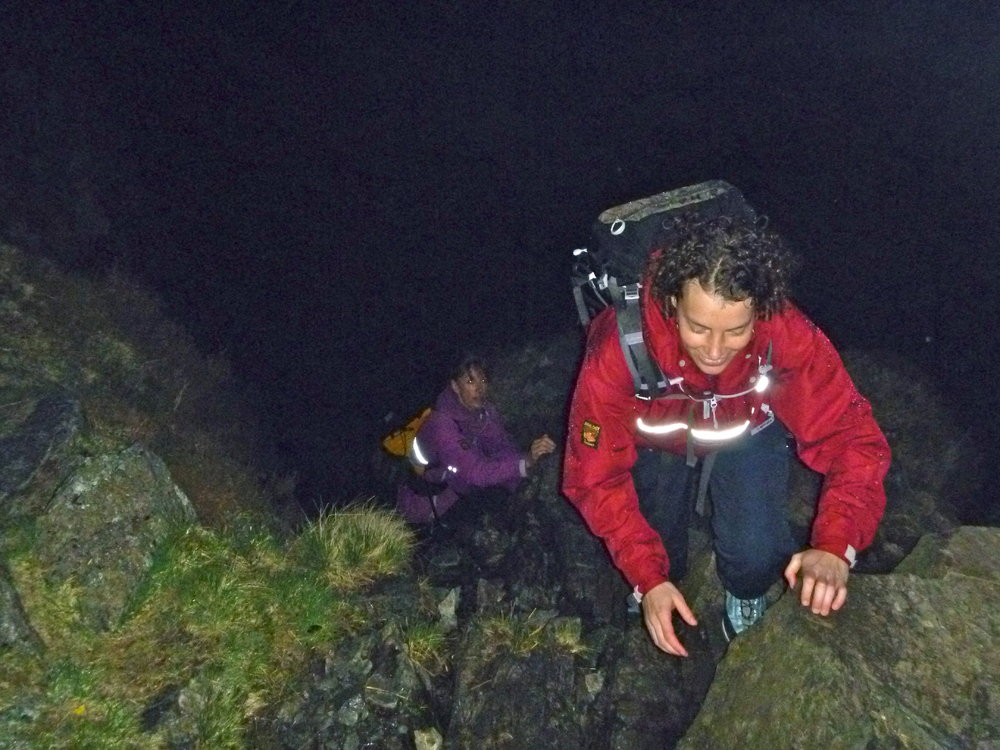 Claire & Kate enjoying a night time ascent of the rake. This was followed with a navigation session at the top, 159 kb