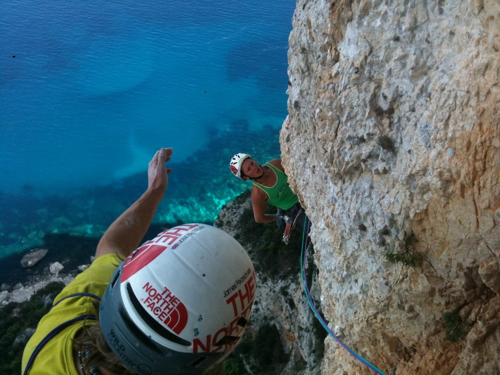 Caroline Ciavaldini reaching the end of the 2nd 8a+ pitch of Aria, Sardinia, 151 kb