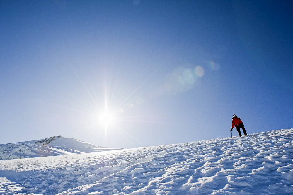 An alpine climber descends Dome du Gouter after a sunny day on the summit of Mont Blanc., 223 kb