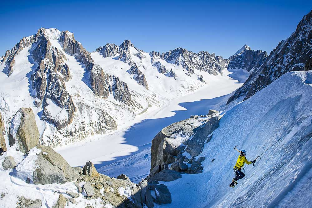 A female alpinist, as seen on a glacial ice at the foothills of Aiguille Verte. In the background Galcier Argentiere., 133 kb