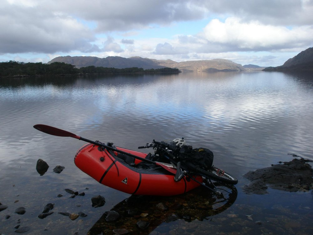 Stopping off at Isle Maree to stretch the legs during a bikerafting trip , 103 kb