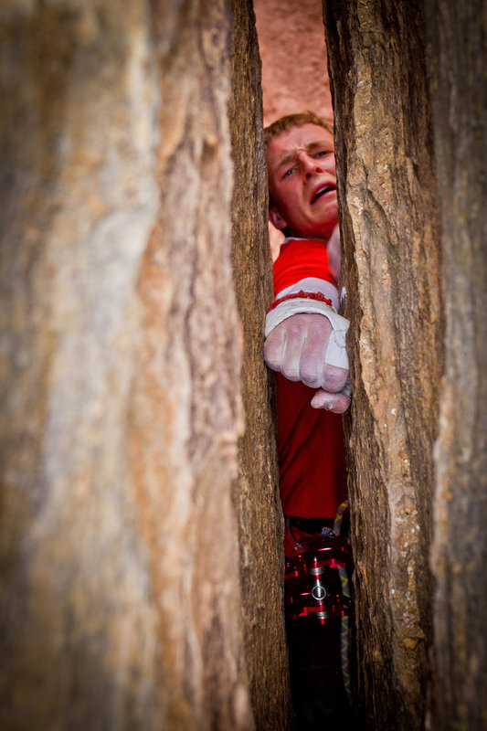 Pete Whittaker throws in a fist jam at the end of Century Crack - the world's hardest crack climb?, 109 kb