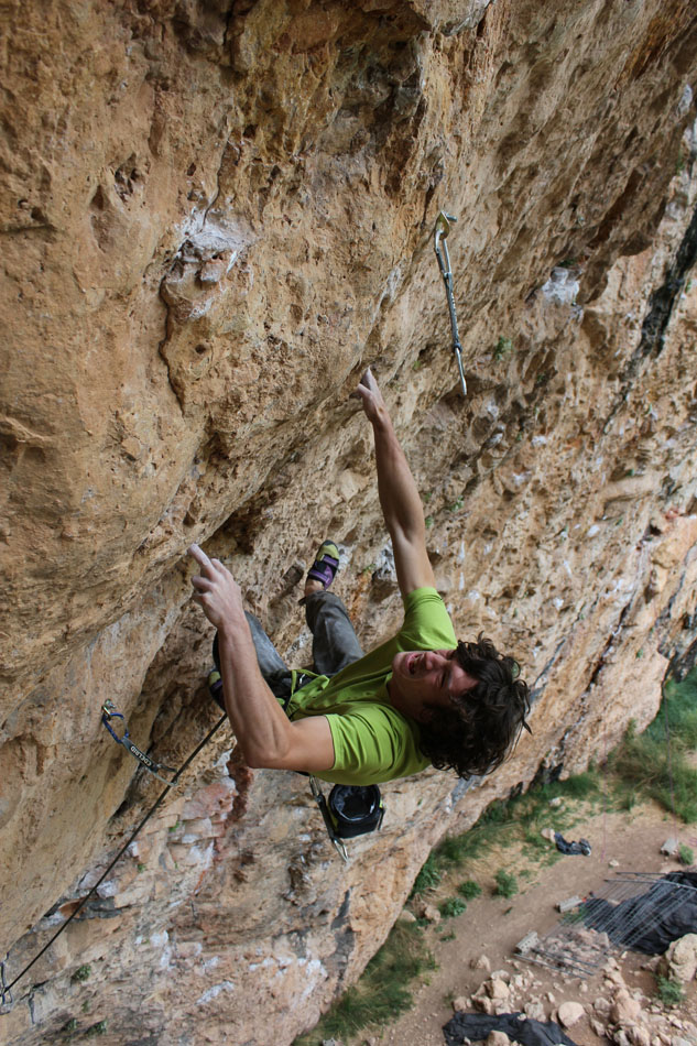 Tom Bolger on his new route Gypsy Blood (8c+) at Santa Linya, 218 kb