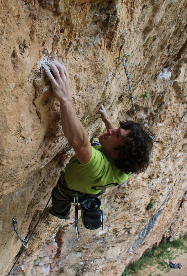 Tom Bolger on his new route Gypsy Blood (8c+) at Santa Linya, 216 kb