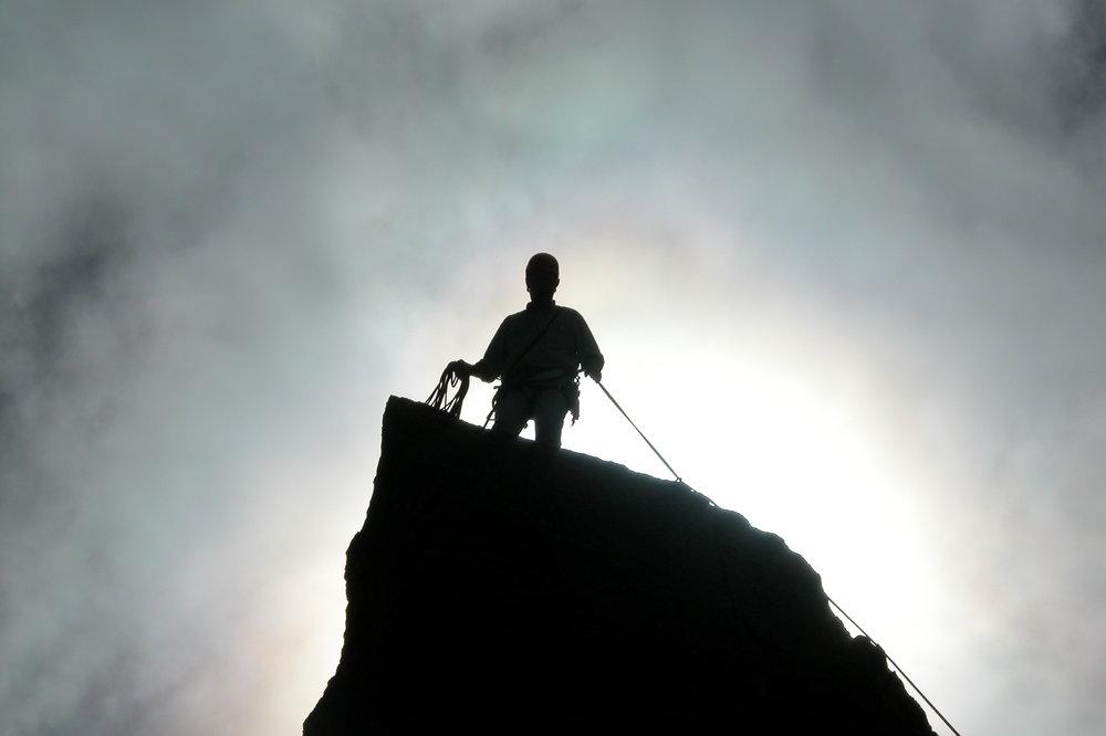 """sanctified"" by the sun on Aiguillette d'Argentiere summit, 41 kb"