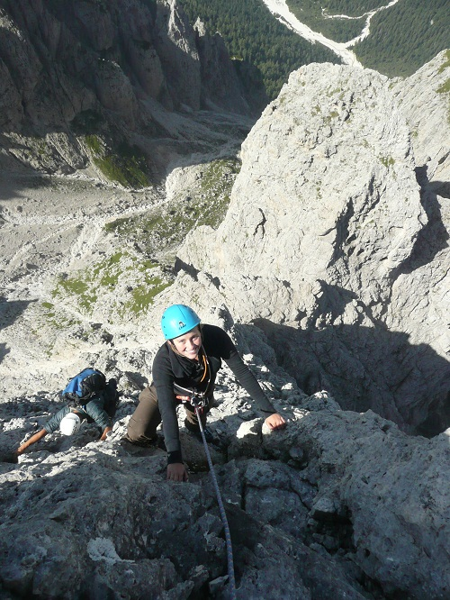 Anna Wigley relishing pulling on the large knobs of the Sasso d'Ortiga., 176 kb