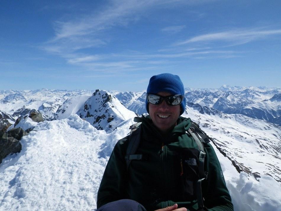 "On top of ""Sun Cream"" peak (Piz Buin, Silvretta, Austria) in the Radish mid-layer. Photo Matt Livingstone., 139 kb"