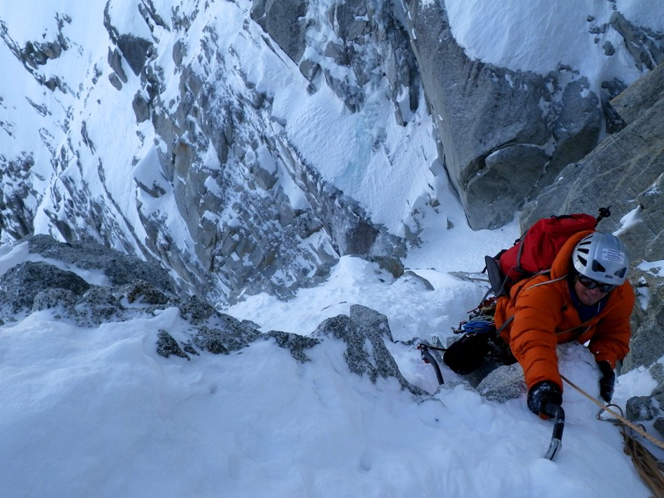 Tom Moores exiting the crux of the Col du Plan N face in the Shaffle down jacket., 161 kb