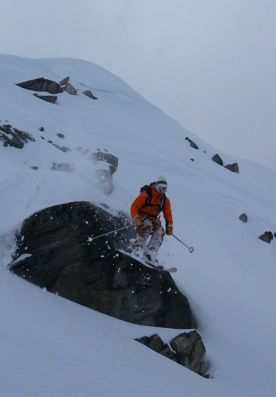 Tom Grant skiing the Grand Montets in the Meru Jacket., 60 kb