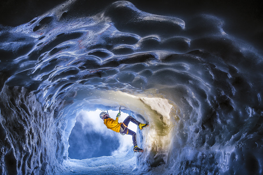 An outcome of trial photo shoot on Aiguille du Midi. Testing the lights before Mont Blanc du Tacul ice cave climbing., 234 kb