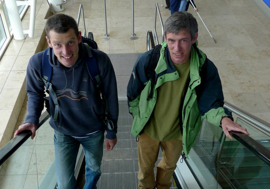 Jack Geldard, Editor of UKC and Alan James, Director of UKC, sometimes they climb, but they prefer an escalator!, 53 kb