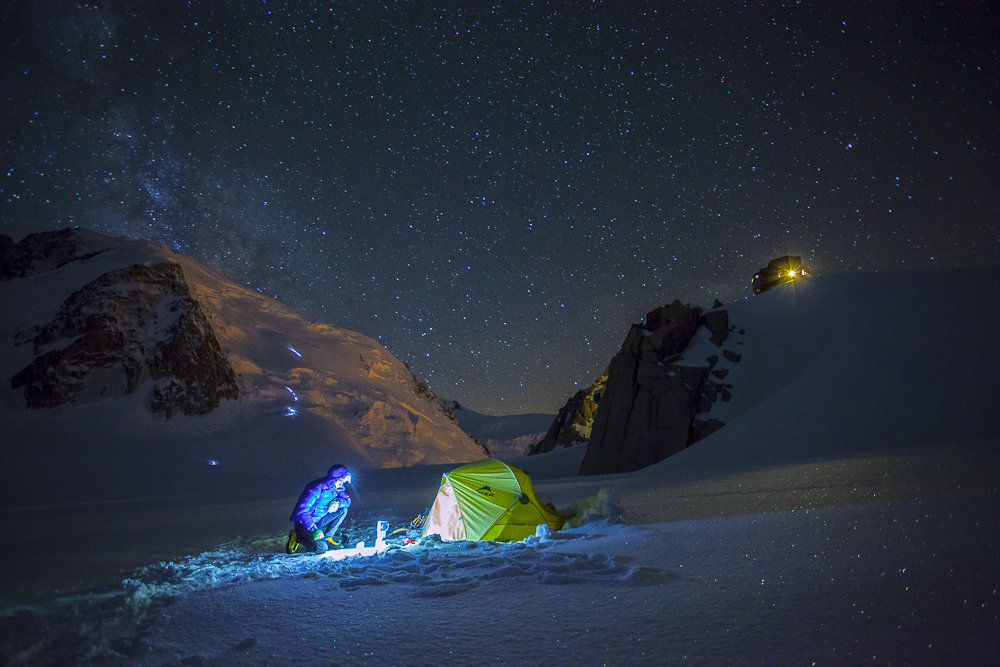 A snapshot from a life of adventure photographer. In the background climbers on Mont Blanc du Tacul.  © Kamil Tamiola
