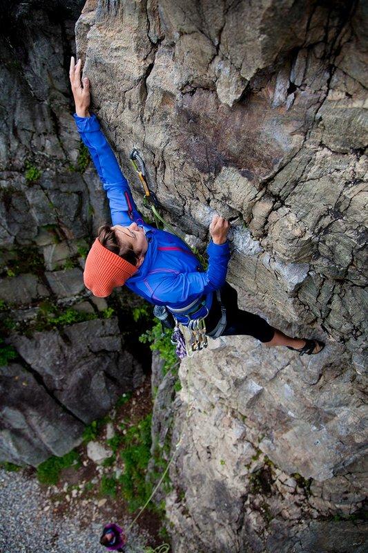 Heather Swift testing the Marmot Vapor Trail Hoody in the Chamonix valley, 130 kb