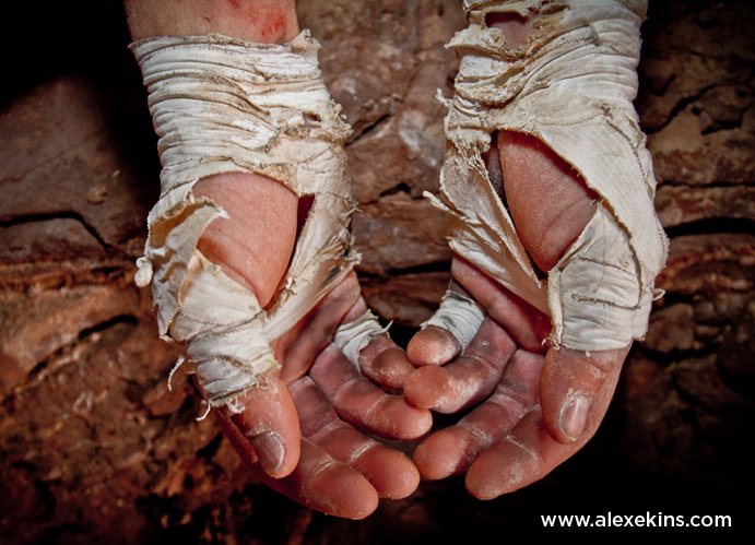 Pete Whittaker's hands after climbing Century Crack, 94 kb