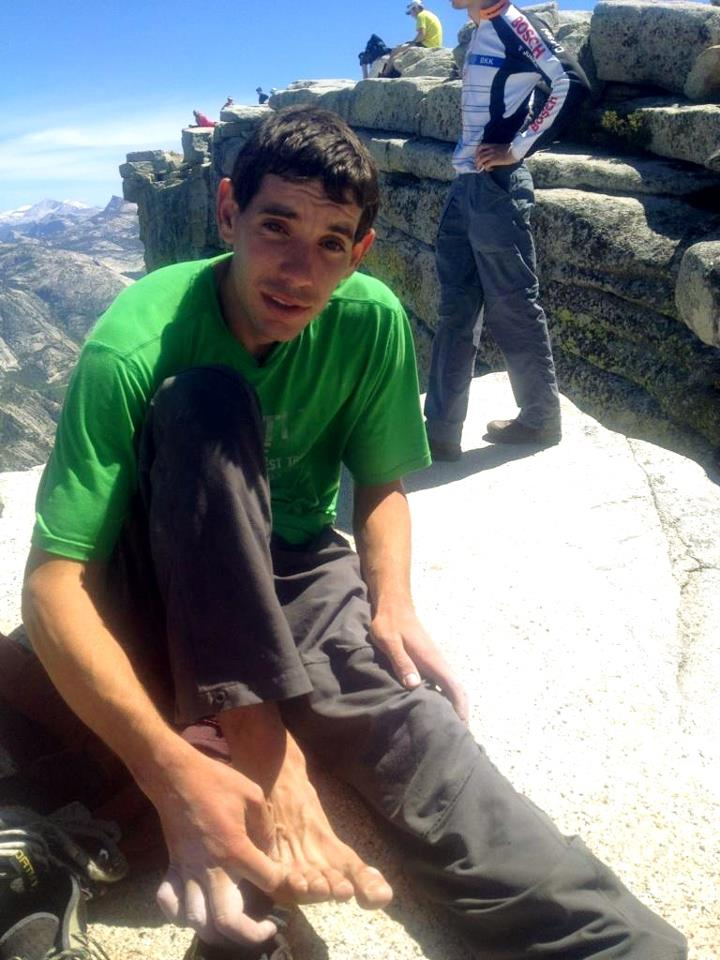 Alex just atop the summit of Half Dome on Wednesday after finishing his solo triple., 91 kb