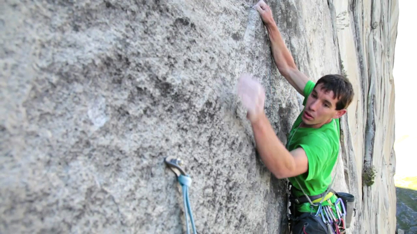 Alex Honnold soloing Mount Watkins on his solo ascent of 'The Triple', 206 kb