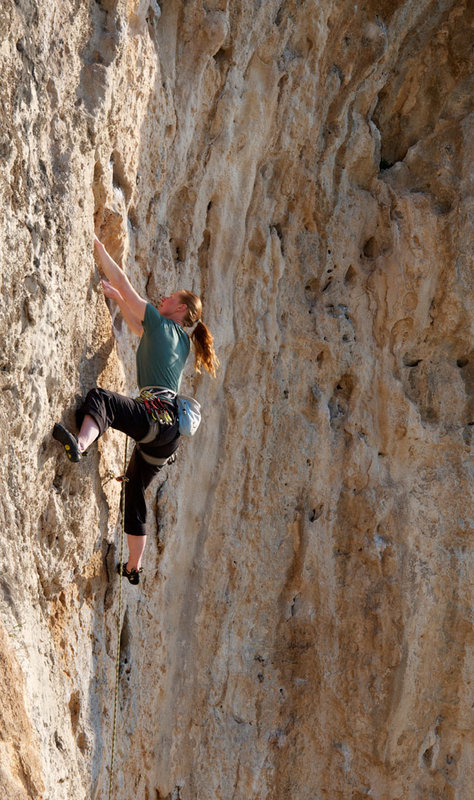 Katy Forrester climbing at Kalymnos in 2012, 134 kb