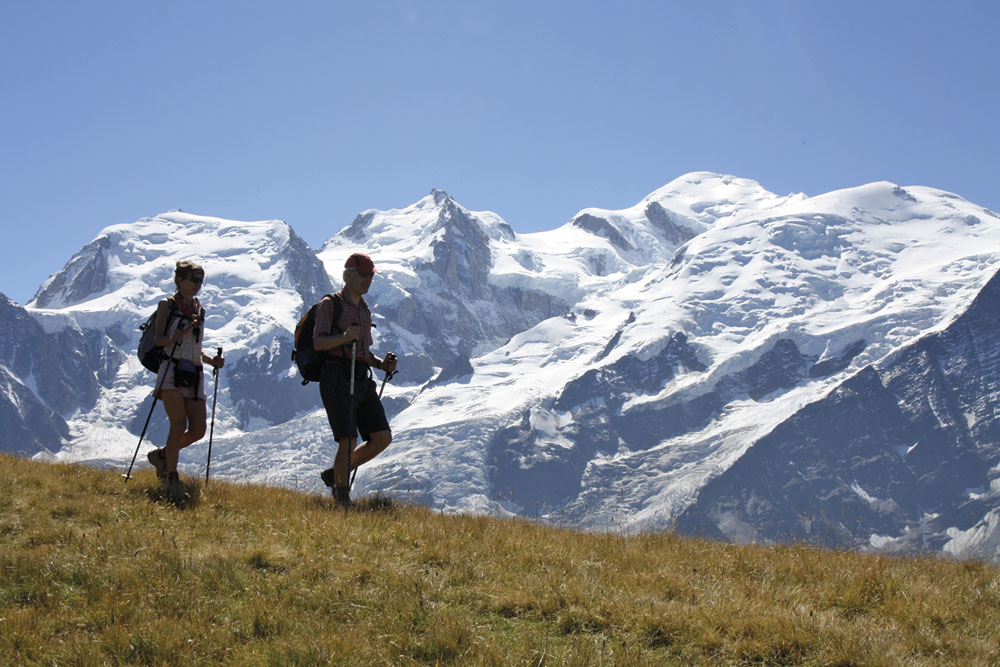 Mont Blanc as backdrop while walking near the Refuge Bel Lachat, 150 kb