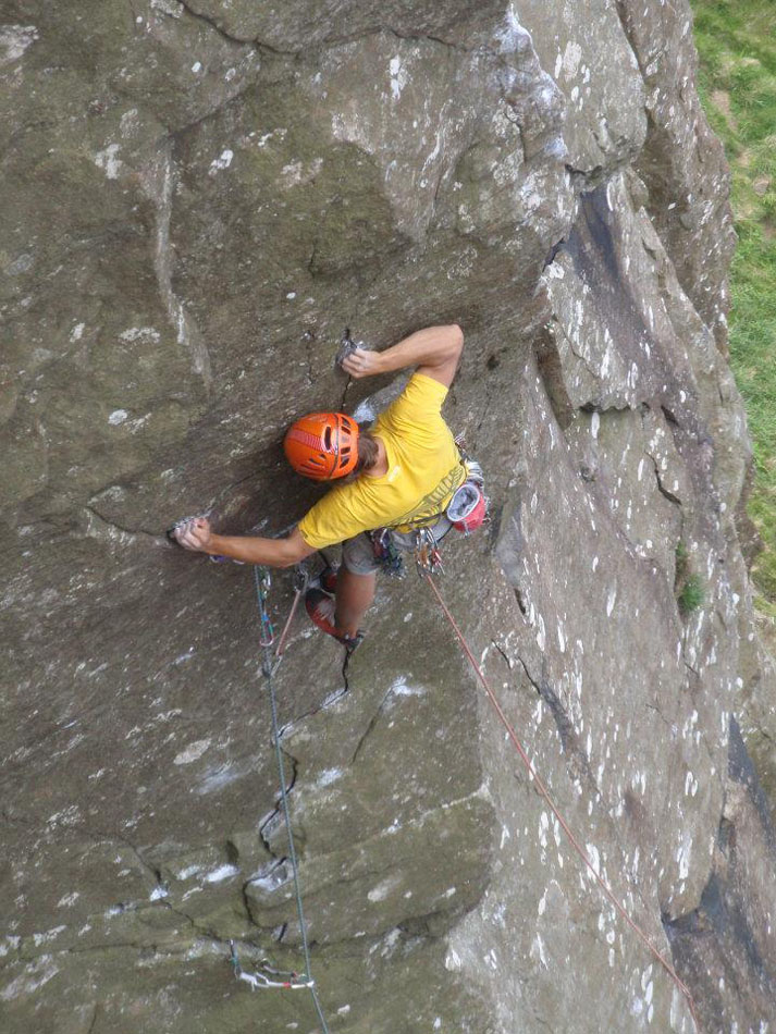 John McCune about to commit to the arete of Hell's Kitch Arete E6 6a, 192 kb