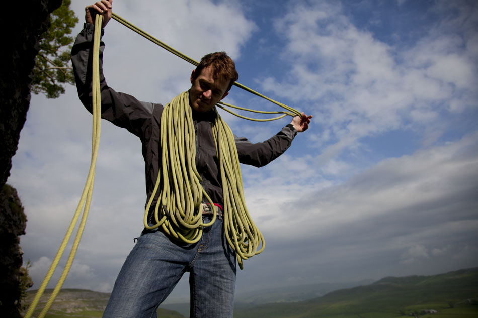Coiling the rope on a slightly damp day in the Arc'teryx Gamma SL, 106 kb