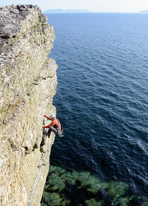 One of the best routes I've done this year. Here Terry Ralphs strolls up Hairy Mary (VS 4c), Suidhe Biorach, Isle of Skye., 167 kb