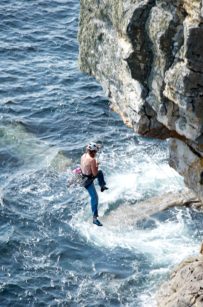 Dougal Taverner off Rapid Learning Curve E6. The nut at the lip pulled out! Dougal got the climb next go., 208 kb