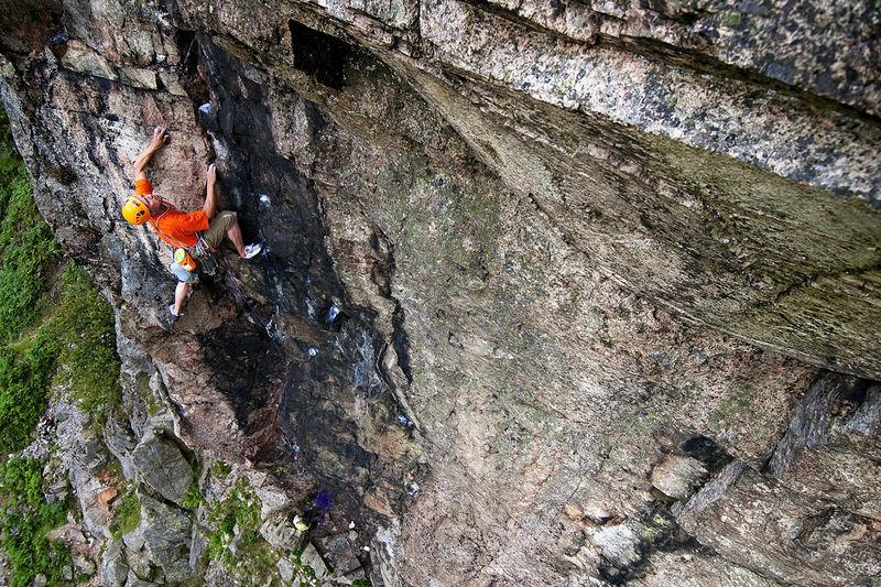 Steve McClure on Trilogy E5 6a at Raven Crag, 200 kb