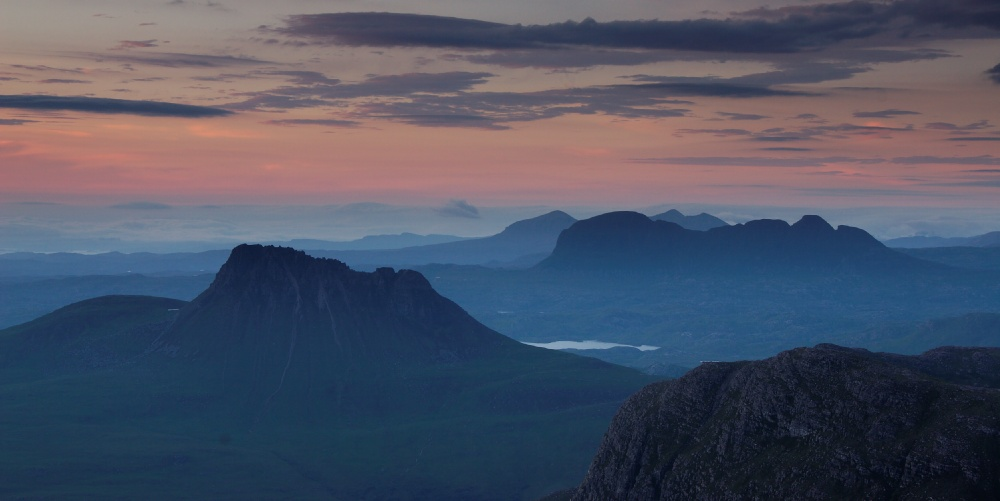 Stac Pollaidh and Suilven at dusk, 107 kb